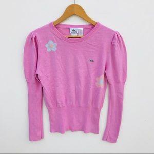 LACOSTE Crewneck Pink Cotton Sweater